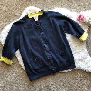 L.L. Bean Navy Blue and Yellow Colorblock Cardigan